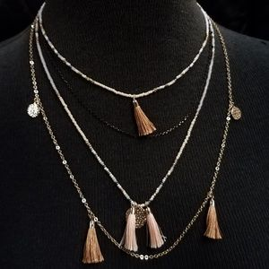 Jewelry - Dainty 4 Tiered Tassel Bead Gold Chain Necklace